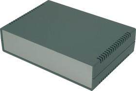 G729AV, Корпус для РЭА 260х180х65 мм, пластик, темно-серый, алюминиевая панель, с вентиляц. отв.