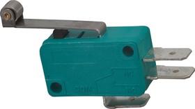 Фото 1/2 MSW-03, Микропереключатель с роликом 25мм ON-(ON) (10A 125/250VAC) SPDT 3P (B180B)
