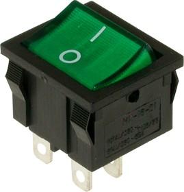 MIRS-201A-4C3 (зеленый), Переключатель с подсветкой ON-OFF (10A 125VAC, 6A 250VAC, 15A 12VDC) DPST 4P