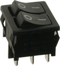 A12H, Переключатель черный без подстветки ON-OFF (16A/250VAC) 4P