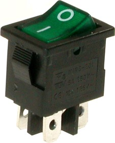 MIRS-201A-2C3 (зеленый), Переключатель с подсветкой ON-OFF (10A 125VAC, 6A 250VAC, 15A 12VDC) DPST 4P