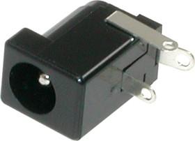 """DS-210A (DJK-02B), Разъем питания DC 2.5x5.5 мм """"гнездо"""" (диам. штыря 2.4 мм), прямой угол на плату (3 вывода)"""