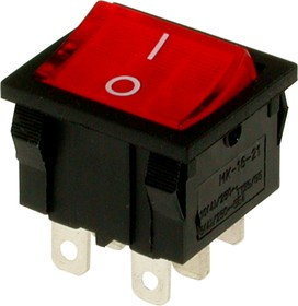 Фото 1/2 MIRS-202A-4C3 (красный), Переключатель 6pin ON-ON (10A 125VAC, 6A 250V, 15A 12VDC)