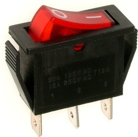 RS-102-1C3 (красный), Переключатель ON-ON (15A 250VAC) SPDT 3P