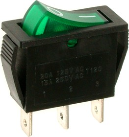RS-102-1C3 (зеленый), Переключатель ON-ON (15A 250VAC) SPDT 3P