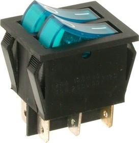 Фото 1/2 IRS-2101-1C3, Переключатель синий с подсветкой ON-OFF (15A 250VAC) DPST 6P