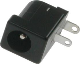 """DS-201A (PBT) (SL), Разъем питания DC 2.5x5.5 мм """"гнездо"""" (диам. штыря 2.0 мм), прямой угол на плату (2 вывода)"""