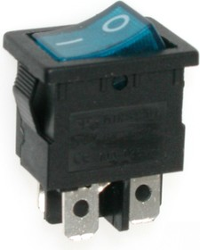 MIRS-201-2C3 (синий), Переключатель с подсветкой ON-OFF (6A 125VAC, 3A 250VAC, 15A 12VDC) DPST 4P