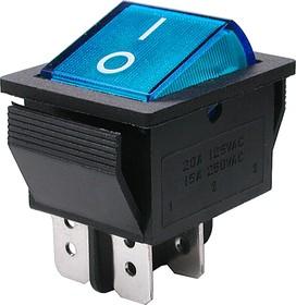 Фото 1/2 IRS-201-1A3 (синий), Переключатель с подсветкой ON-OFF (15A 250VAC) DPST 4P
