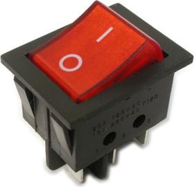 IRS-202-3C3-R/B, Переключатель с подсветкой 2хON-ON (15A 250VAC) DPDT 6P, черный корпус/красная клавиша