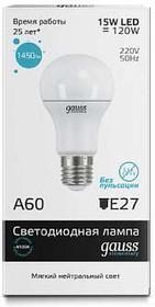 Фото 1/7 Лампа светодиодная Elementary A60 15Вт грушевидная 4100К бел. E27 1450лм 180-240В Gauss 23225