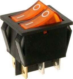 Фото 1/2 IRS-2101-1C3, Переключатель желтый с подсветкой ON-OFF (15A 250VAC) DPST 6P