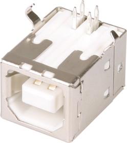 Фото 1/3 USBB-1J (DS1099-W), Розетка на плату белая, тип B угловая