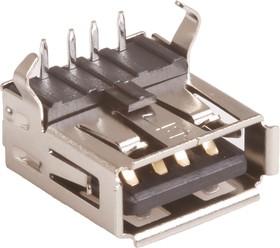 Фото 1/2 USBA-1J (DS1095 B-R), Розетка на плату, тип A угловая (черная)