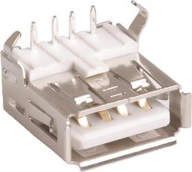 Фото 1/3 USBA-1J (DS1095 W-R), Розетка на плату, тип A угловая (белая)
