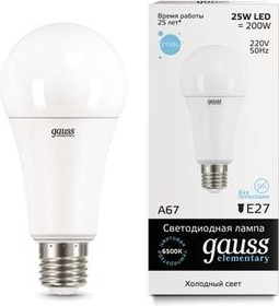 Фото 1/4 Лампа светодиодная Elementary A67 25Вт E27 6500К Gauss 73235