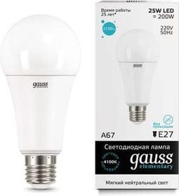 Фото 1/4 Лампа светодиодная Elementary A67 25Вт E27 4100К Gauss 73225