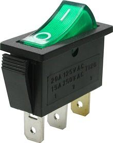 IRS-101-3C3 (зеленый), Переключатель с подсветкой ON-OFF (15A 250VAC) SPST 3P