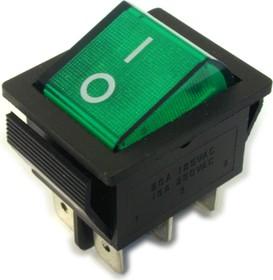 IRS-202-1A3 зеленый, Переключатель с подсветкой ON-ON (15A 250VAC) DPDT 6P