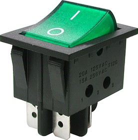 Фото 1/2 IRS-201-3C3 (зеленый), Переключатель с подсветкой ON-OFF (15A 250VAC) DPST 4P