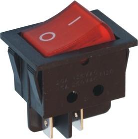 Фото 1/2 IRS-201-3C3 (красный), Переключатель с подсветкой ON-OFF (15A 250VAC) DPST 4P