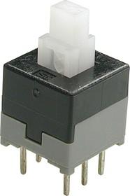 PB-22E06 (PS845L), Кнопка миниатюрная с фиксацией, 8.45х8.45 мм (0.1A 30VDC)