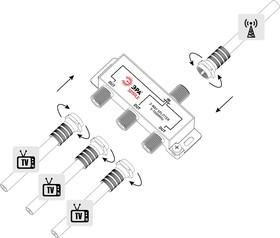 Фото 1/4 Делитель ТВ ЭРА Simple DS-F-02 3 ответвления под F разъём 5-1000 МГц Б0048321