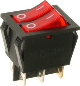 IRS-2101-1C3, Переключатель красный с подсветкой ON-OFF (15A 250VAC) DPST 6P