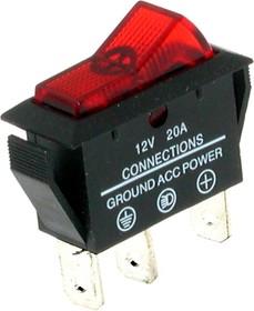ASW-09D (красный), Переключатель с подсветкой ON-OFF (20A 12DC) SPST 3P