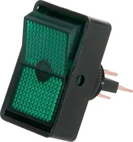 ASW-11D (зеленый), Переключатель с подсветкой ON-OFF (20A 12VDC)