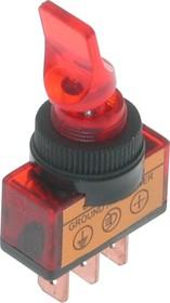 ASW-14D (красный), Тумблер с подсветкой ON-OFF (20A 12VDC) SPST 3P
