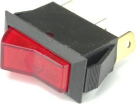 IRS-1-3B, Переключатель красный с подсветкой ON-OFF (10A 250VAC) SPST 3P
