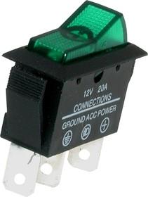 ASW-09D (зеленый), Переключатель с подсветкой ON-OFF (20A 12DC) SPST 3P