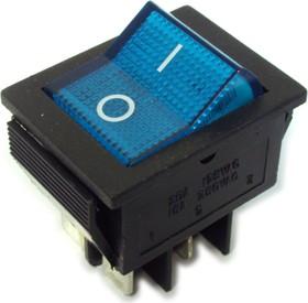 Фото 1/2 IRS-201-2B3 (синий), Переключатель с подсветкой ON-OFF (15A 250VAC) DPST 4P