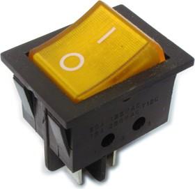 Фото 1/2 IRS-201-3C3 (желтый), Переключатель с подсветкой ON-OFF (15A 250VAC) DPST 4P