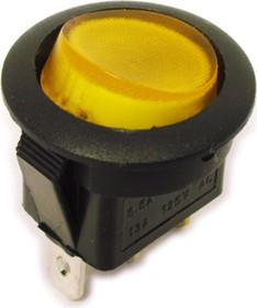MIRS-101A-8C3 (желтый), Переключатель с подсветкой ON-OFF (10A 125VAC, 6.5A 250VAC, 15A 12VDC) SPST 3P