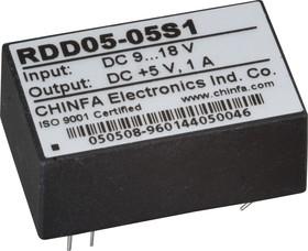 RDD05-15S1, DC/DC преобразователь, 5Вт, Uвх=9 - 18В, Uвых=15В/400мА