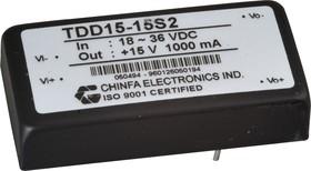 TDD15-05S2, DC-DC преобразователь, 15Вт, вход 18-36В, выход 5В/3А