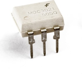 Фото 1/2 MOC3081M, Оптопара с симисторным выходом 800В, переключение при переходе через ноль [DIP-6]