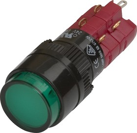 D16LAR1-2abGG, Кнопка с фиксацией / лампочка 250В/5А