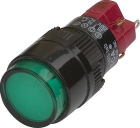 D16LMR1-1abKG, Кнопка без фиксации (5A 250VAC), LED подсветка 24VDC