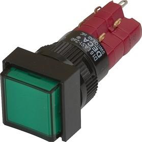 Фото 1/2 D16LAS1-2abKG, Кнопка с фиксацией / LED 250В/5А