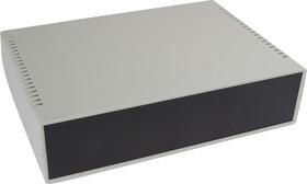 G758V, Корпус для РЭА 260х180х65 мм, пластик, светло-серый, черная панель, с вентиляц. отв.
