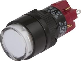 Фото 1/3 D16LMR1-1abCW, Кнопка без фиксации (5A 250VAC), Incandescent подсветка 28V AC/DC 40mA