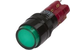Фото 1/2 D16LAR1-2abKG, Кнопка с фиксацией (5A 250VAC), LED подсветка 24VDC