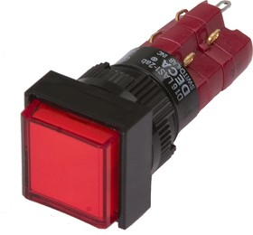 Фото 1/2 D16LAS1-2abJR, Кнопка с фиксацией красная (5A 250VAC), LED подсветка 12VDC