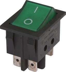 IRS-202-3C3-G/B, Переключатель с подсветкой 2хON-ON (15A 250VAC) DPDT 6P, черный корпус/зеленая клавиша