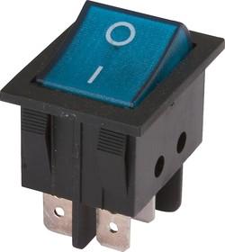 IRS-202-3C3-BL/B, Переключатель с подсветкой 2хON-ON (15A 250VAC) DPDT 6P, черный корпус/синяя клавиша