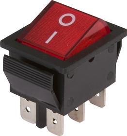 IRS-202-1A3 красный, Переключатель с подсветкой ON-ON (15A 250VAC) DPDT 6P