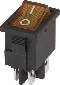 MIRS-201-C3 ( желтый), Переключатель c подсветкой ON-OFF (6A 125VAC, 3A 250VAC, 15A 12VDC) DPST 4P